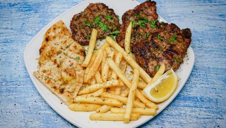 Pork Fillets with french fries and pitta bread