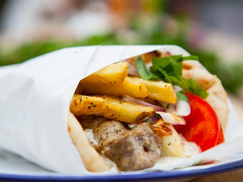 Pork or chicken souvlaki wrap